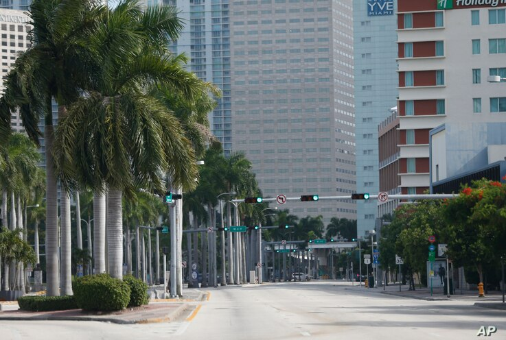 A street usually filled with cars is seen in deserted downtown Miami, Florida, Sept. 8, 2017. State authorities have asked Florida has asked 5.6 million people - more than one-quarter of Florida's population - to evacuate