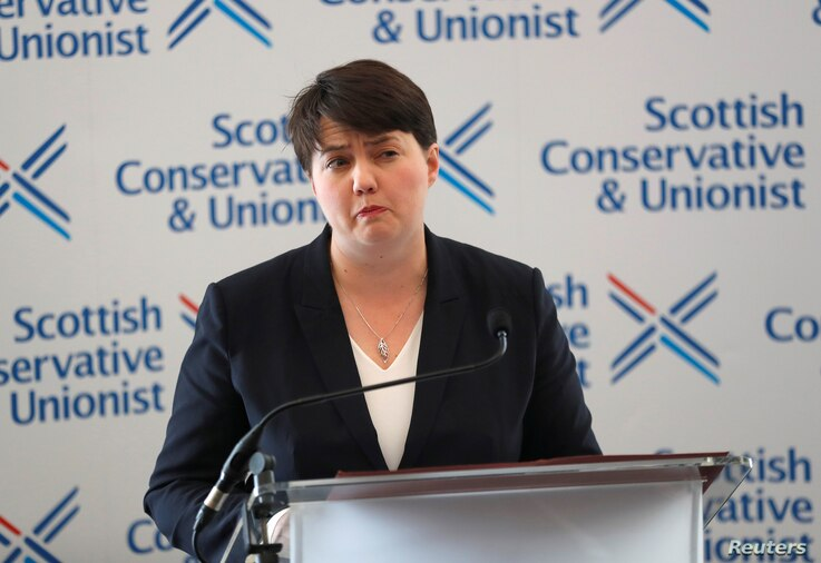 Ruth Davidson, leader of the Scottish Conservatives, addresses journalists in Edinburgh, Britain, June 9, 2017.