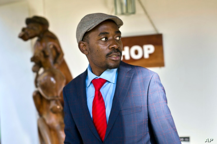 Opposition leader Nelson Chamisa leaves the Bronte hotel following his press conference in Harare, Zimbabwe, Aug. 3, 2018.