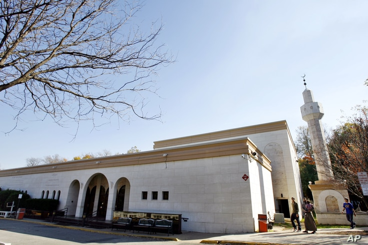 """FILE - The Dar Al-Hijrah Islamic Center is seen in Falls Church, Virginia, Nov. 8, 2009. """"Dar Al-Hijrah has a big role ahead of them to engage the youth,"""" said one person at the center."""