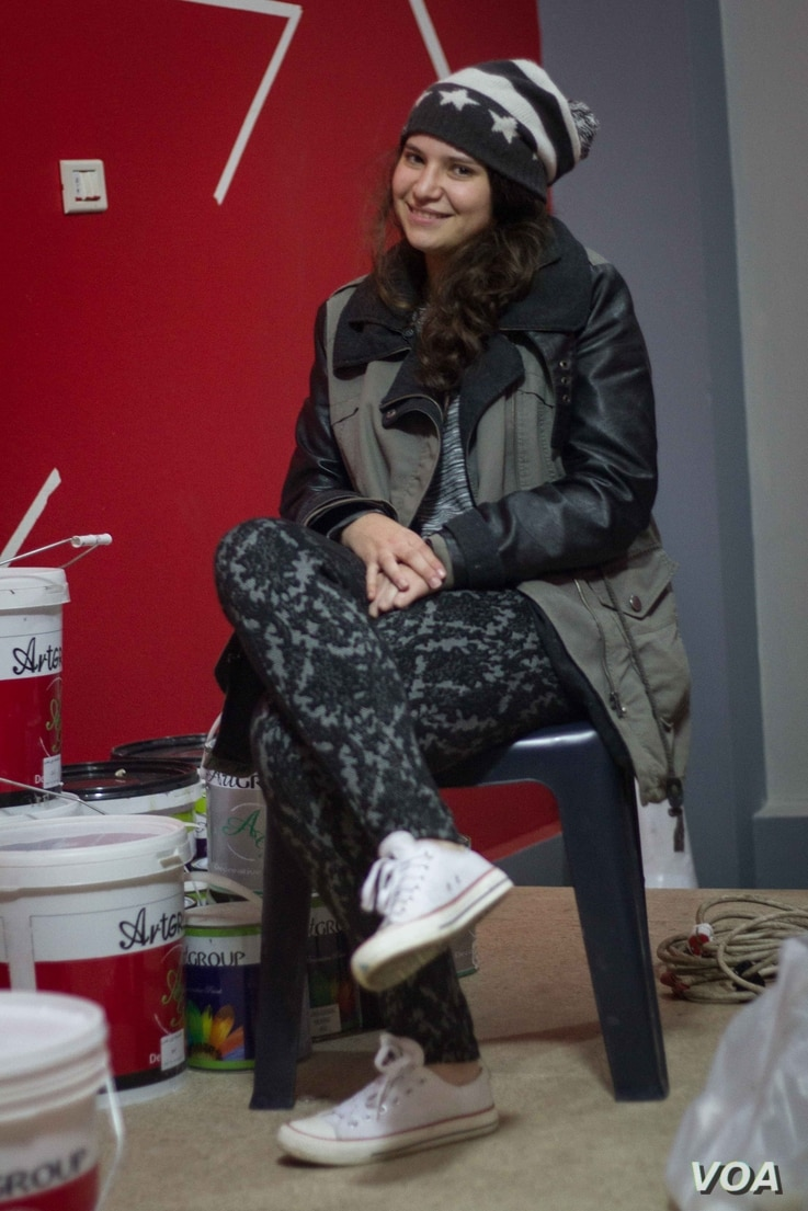 Sara Rahouly, a rapper and singer for the One Voice Team, in the group's offices.