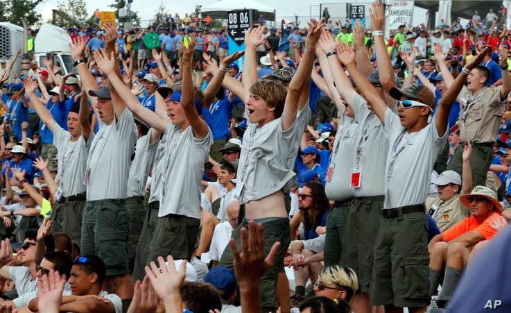 Boy Scouts sing and dance to music as they await the arrival of President Donald Trump at the 2017 National Boy Scout Jamboree at the Summit in Glen Jean, West Virginia, July 24, 2017.