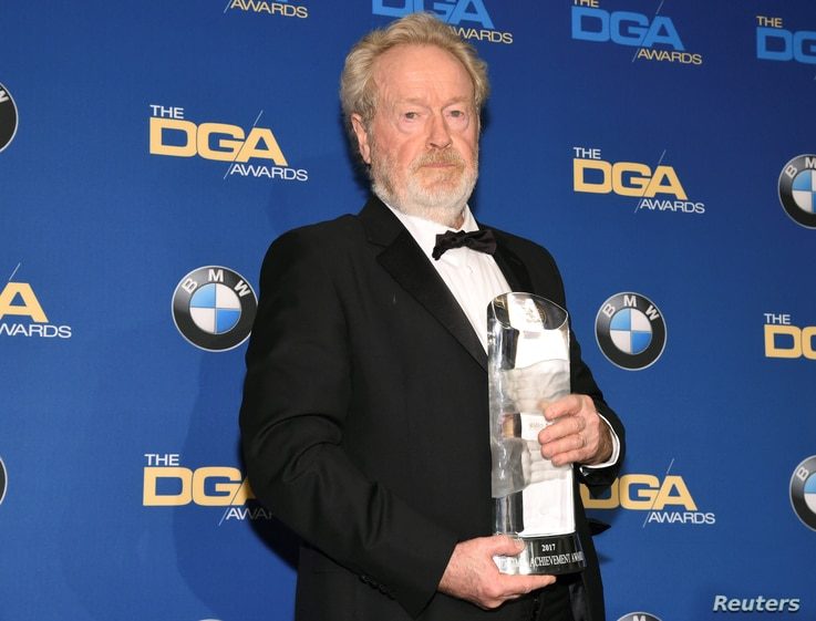 Ridley Scott, winner of the Lifetime Achievement in Feature Film Award, poses for photographers at the 69th annual DGA Awards in Beverly Hills, California, Feb. 4, 2017.