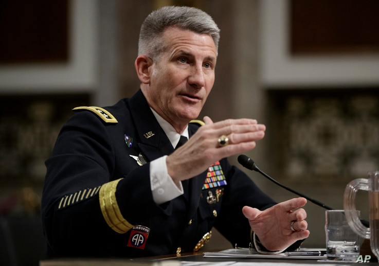 """Gen. John Nicholson, the top U.S. commander in Afghanistan, testifies on Capitol Hill in Washington, Feb. 9, 2017, before the Senate Armed Services Senate Committee. Nicholson said he needs a """"few thousand"""" more troops to better accomplish a key part..."""