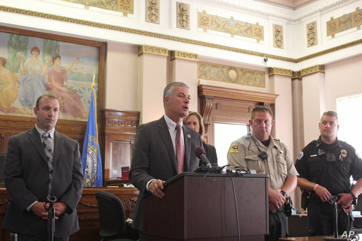 FILE - South Dakota Attorney General Marty Jackley announced charges against two consultants who worked with a Native American tribe on its plans to open the nation's first marijuana resort during a news conference Aug. 3, 2016, in Flandreau, S.D. Th...