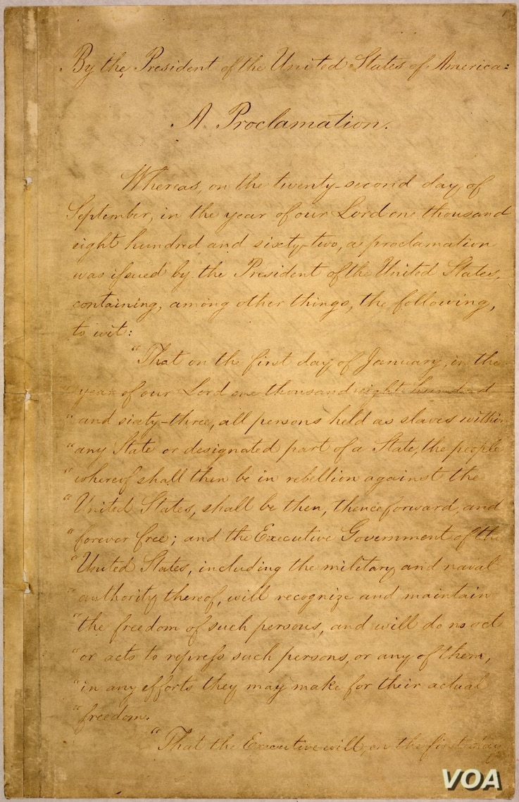 The Emancipation Proclamation, issued by Lincoln freed all slaves in the confederacy