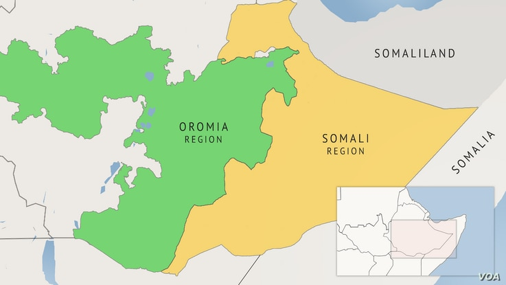 A map of Ethiopia's Oromia and Somali regions