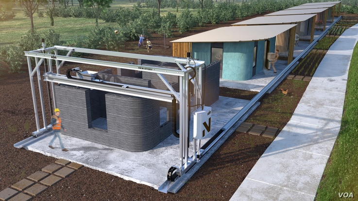 This rendering shows how a 3-D printer can print homes and create communities. A construction company based in Austin, Texas, and New Story, a nonprofit that aims to end homelessness globally, have teamed up to provide safe, permanent shelters.