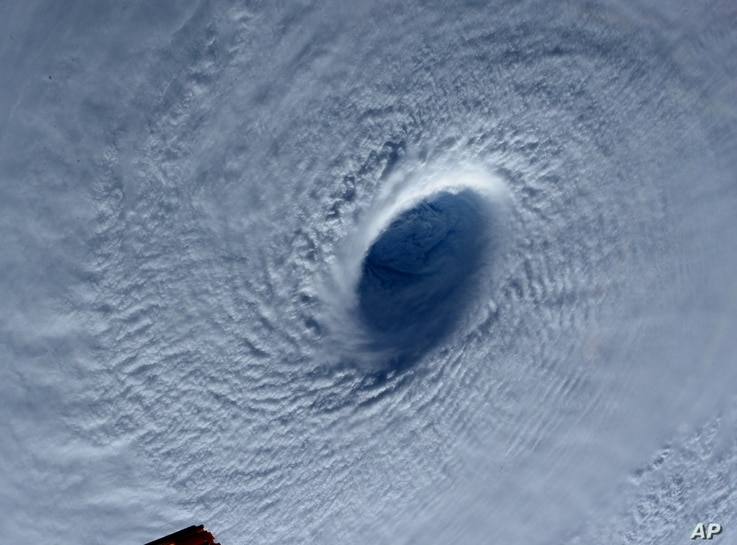 This image taken March 31, 2015 shows Typhoon Maysak taken by astronaut Samantha Cristoforetti from the International Space Station.