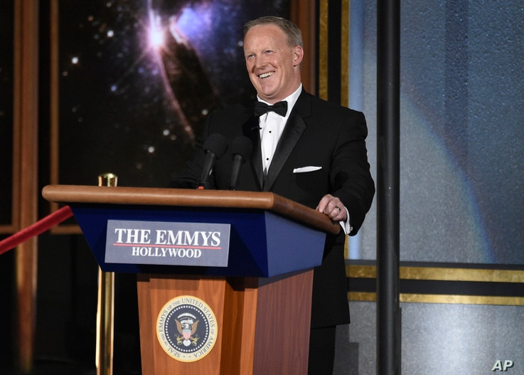 Sean Spicer speaks at the 69th Primetime Emmy Awards, Sept. 17, 2017, at the Microsoft Theater in Los Angeles.