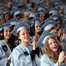 Graduating seniors cheer at the commencement for Barnard College, in New York (File)