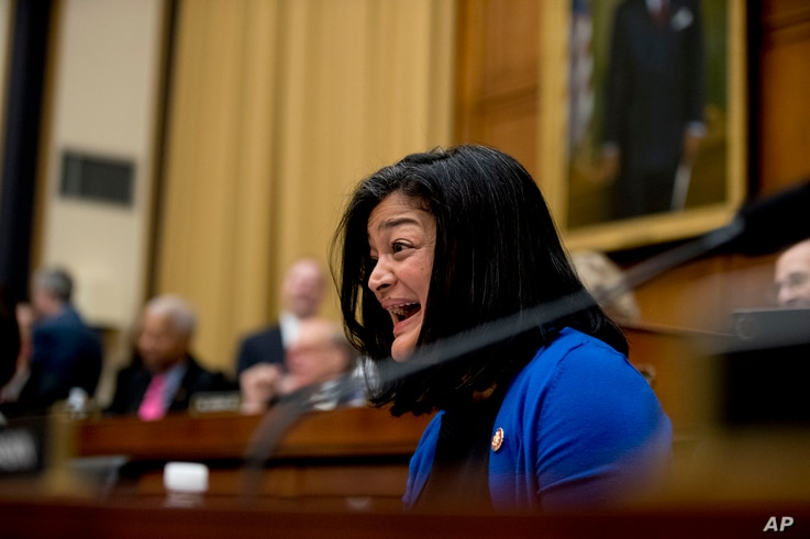 Rep. Pramila Jayapal, D-Wash, reacts as Acting Attorney General Matthew Whitaker tells Judiciary Committee Chairman Jerrold Nadler, D-N.Y., that his time has expired as he appears before the House Judiciary Committee on Capitol Hill, Friday, Feb. 8, ...
