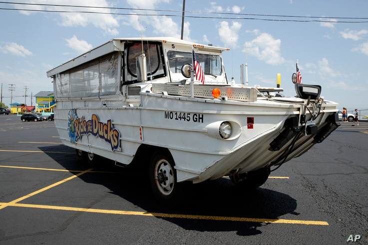 A duck boat sits in the parking lot of Ride the Ducks, an amphibious tour operator in Branson, Missouri, July 20, 2018.
