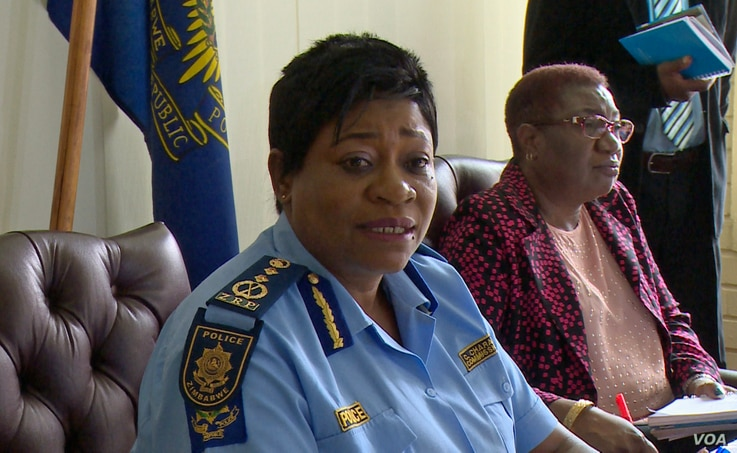 Zimbabwe police spokesperson Charity Charamba in Harare denied charges of widespread abuse by security forces, Jan. 29, 2018.