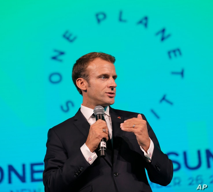 French President Emmanuel Macron speaks during the One Planet Summit in New York, Sept. 26, 2018.