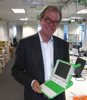Nicholas Negroponte hopes to place a laptop in the hands of every child on the planet.