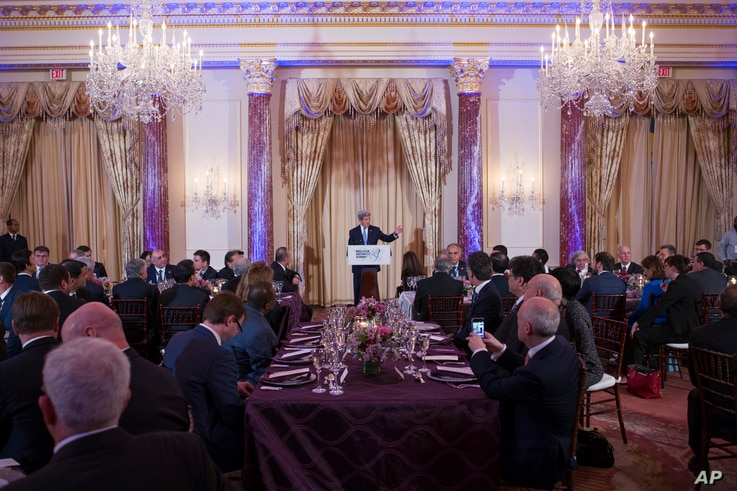 Secretary of State John Kerry makes remarks at the top of a State Department dinner for Nuclear Security Summit delegation guests, in Washington, Thursday, March 31, 2016.