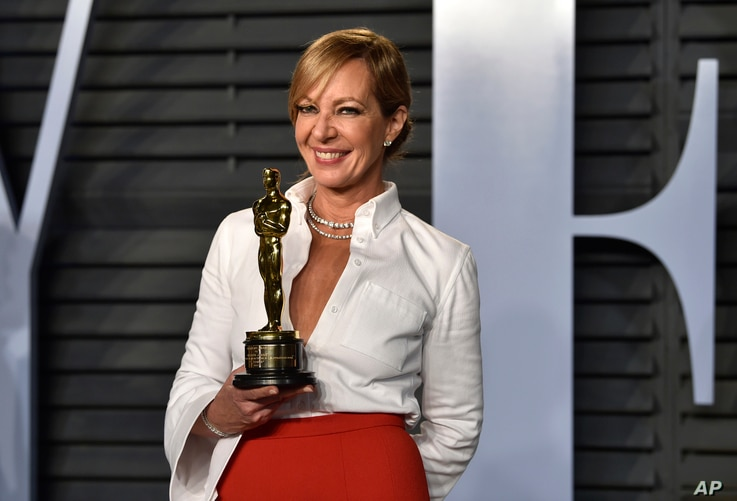 """Allison Janney, winner of the award for best performance by an actress in a supporting role for """"I, Tonya,"""" arrives at the Vanity Fair Oscar Party on March 4, 2018, in Beverly Hills, Calif."""