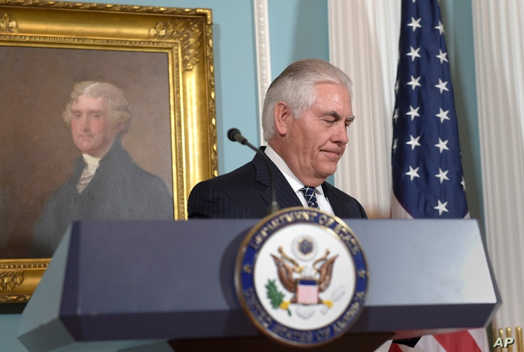 Secretary of State Rex Tillerson leaves after speaking on the release of the 2016 annual report on International Religious Freedom, Aug. 15, 2017, at the State Department in Washington.
