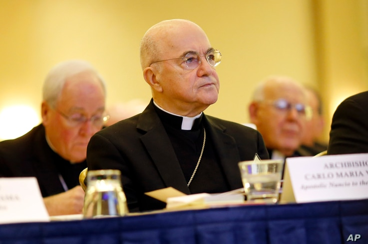 Archbishop Carlo Maria Vigano, Apostolic Nuncio to United States, listens to remarks at the United States Conference of Catholic Bishops' annual fall meeting in Baltimore, Maryland, Nov. 16, 2015.