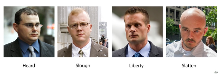 FILE - In these various file photos show Blackwater guards, from left, Dustin Heard, Paul Slough, Evan Liberty and Nicholas Slatten.