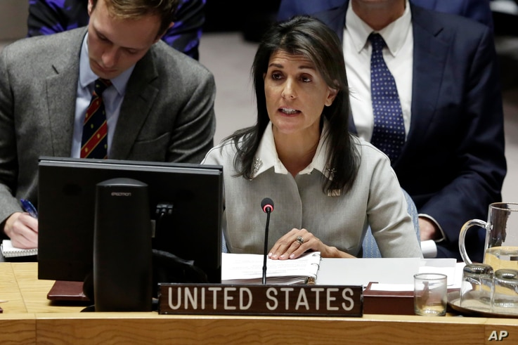 "The decision to recognize Jerusalem as the capital of Israel reflects the ""will of the American people,"" U.S. Ambassador Nikki Haley told the Security Council, Friday, Dec. 8, 2017."