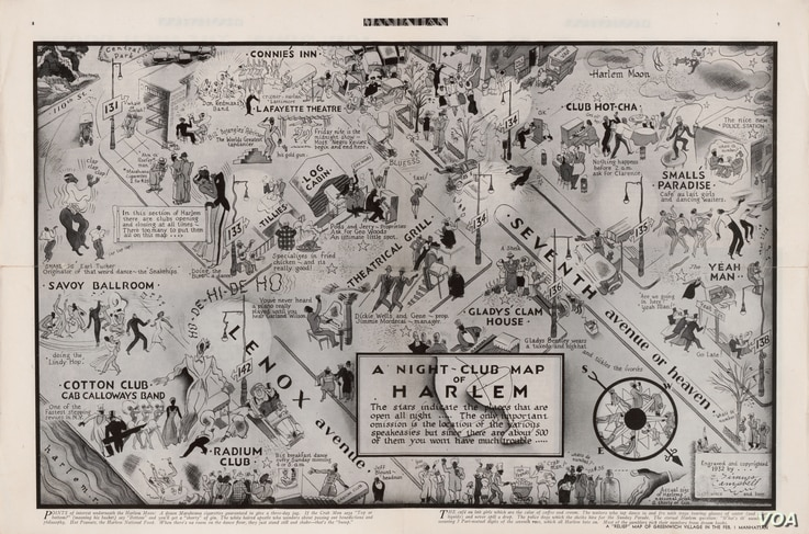 "This 1932 map is a guide to nightclubs in Harlem, an historically black New York neighborhood with a rich musical culture that became famous for jazz. (From ""A History of America in 100 Maps""/Library of Congress)"