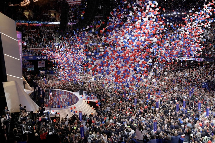 Balloons fall after Republican Presidential Candidate Donald Trump, addresses the delegates during the final day of the Republican National Convention in Cleveland, July 21, 2016.