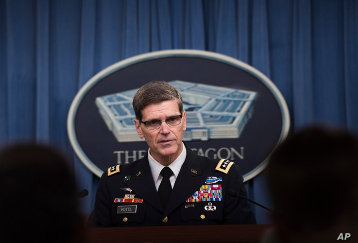 Army Gen. Joseph Votel briefs reporters about the situation in Kunduz, Afghanistan,  April 29, 2016, at the Pentagon.