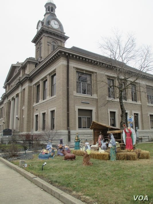 The Nativity scene on display outside the Franklin County Courthouse in Brookville, Indiana. (Photo provided by ACLU of Indiana)