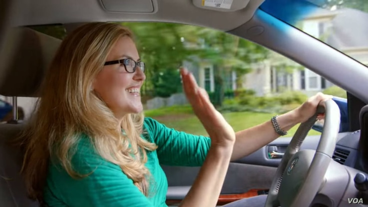 Minivan-driving Democratic candidate Jennifer Wexton in a screenshot from a campaign television ad.