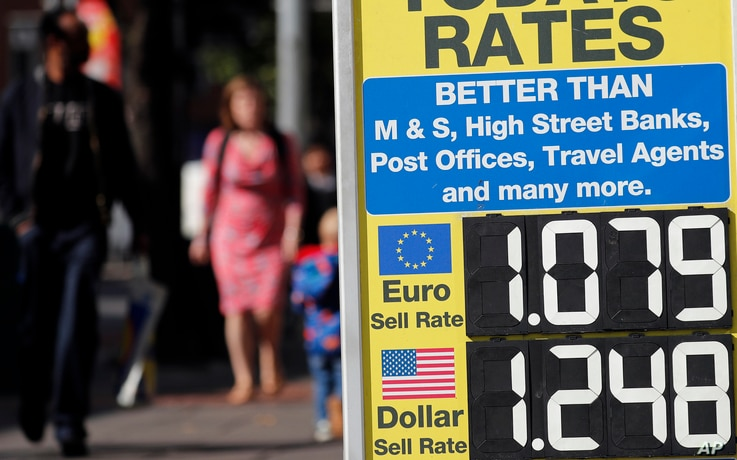 FILE - A board advertises the exchange rate in London, Aug. 24, 2018.