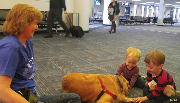 Two boys waiting to catch a flight at Dulles International Airport get to know a People Animals Love therapy dog. (D. Block/VOA)