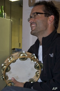 Sean Aucutt  with his tambourine, an essential instrument in any Basque band along with the accordion.
