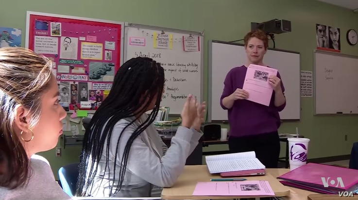 High school social studies teacher Patricia Hunt teaches students how to spot false or misleading information disguised as news.