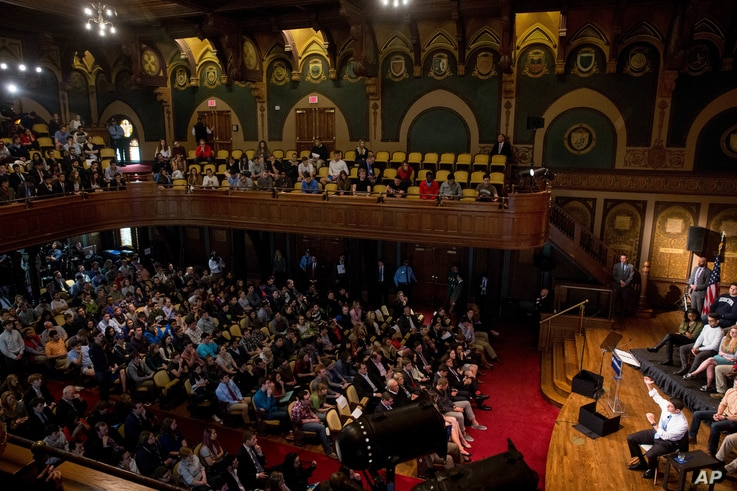 House Speaker Paul Ryan of Wisconsin, bottom right, responds to a question from the audience during a town hall at Gaston Hall at Georgetown University in Washington, April 27, 2016.
