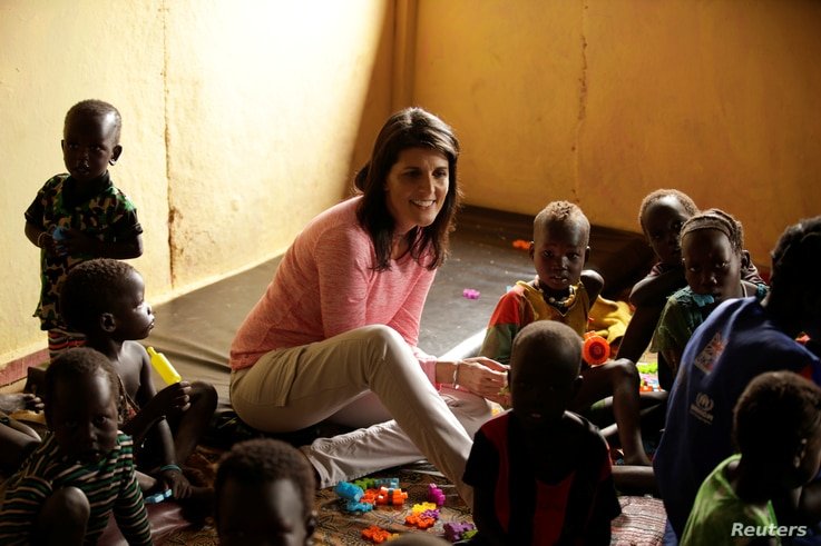 U.S. Ambassador to the United Nations Nikki Haley meets South Sudanese refugee children at the Nguenyyiel refugee camp in Ethiopia's Gambella Region, Oct. 24, 2017.