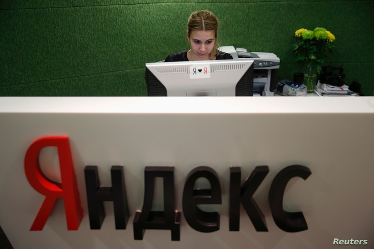 An employee works at Yandex headquarters in Moscow, Russia, Dec. 2, 2014.