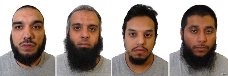 A composite of four undated images issued Aug.2, 2017, by Britain's West-Midlands Police, showing left to right: Tahir Aziz, Naweed Ali, Mohibur Rahman and Khobaib Hussain who have been found guilty of preparing terrorist acts in London.