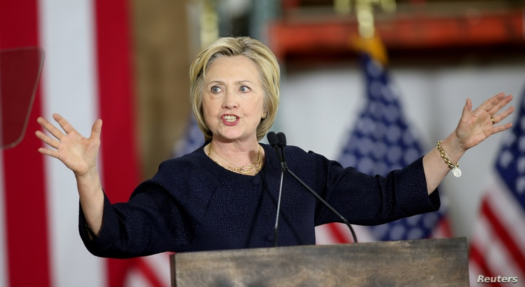 Democratic U.S. presidential candidate Hillary Clinton speaks at a campaign rally in Cleveland, Ohio, June 13, 2016.