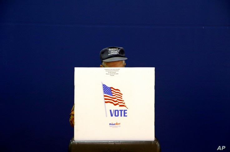 A voter fills out a ballot at a polling place at Lake Shore Elementary School, Nov. 6, 2018, in Pasadena, Md.