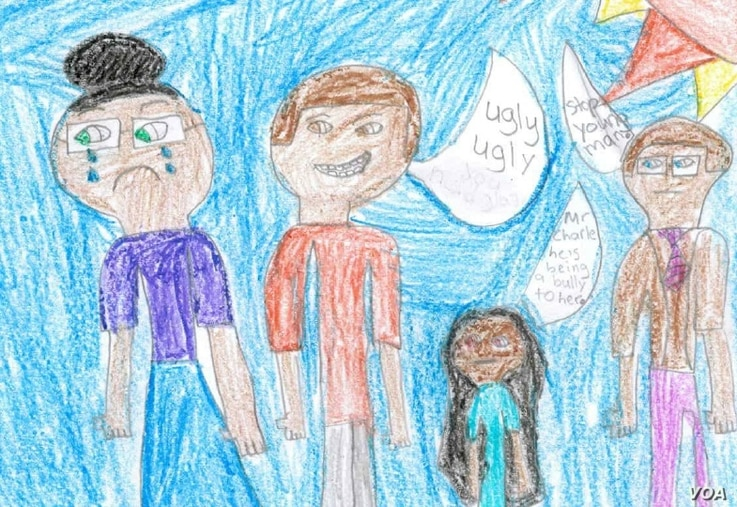 This drawing by second grader Cameron Ross, 8, took third place in the art category of an anti-bullying contest.