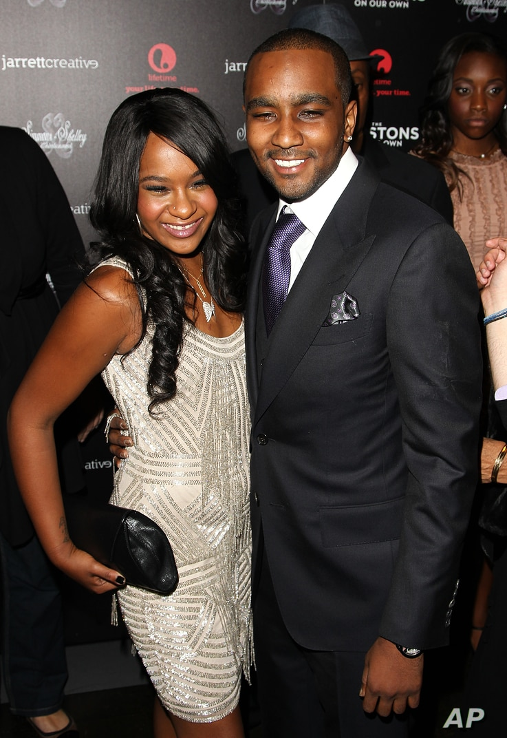 """FILE - Bobbi Kristina Brown and Nick Gordon attend premiere party for """"The Houstons On Our Own"""" at the Tribeca Grand hotel in New York."""