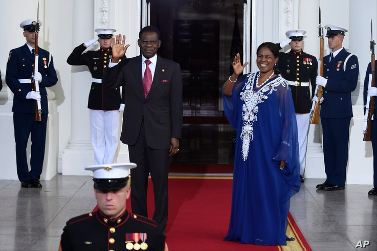 FILE - Teodoro Obiang Nguema Mbasogo, President of the Republic of Equatorial Guinea, and wife Constancia Mangue De Obiang, arrive for a dinner hosted by President Barack Obama for the U.S. Africa Leaders Summit, Tuesday, Aug. 5, 2014.