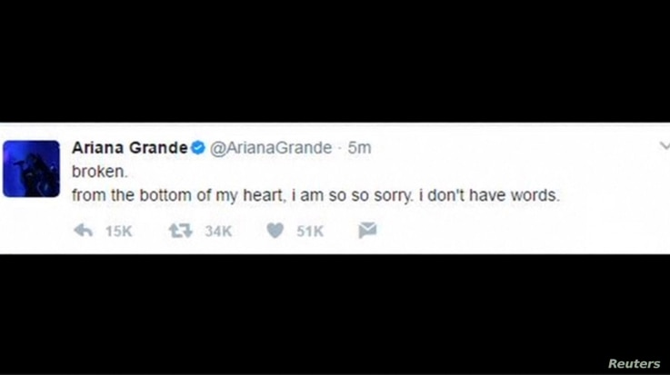 A tweet from U.S. singer Ariana Grande is seen as she makes her first comment since a bombing at her concert in Manchester, England, May 23, 2017.