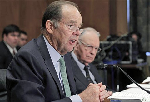 Thomas Kean (L), and Lee Hamilton, former co-chairmen of the 9/11 Commission, testify before the U.S. Senate Homeland Security and Governmental Affairs Committee hearing on the 10-year report on circumstances surrounding Sep 11, 2001 terrorist attack
