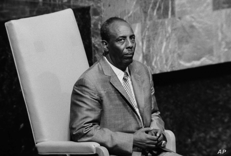 FILE - Somalia's Mohamed Said Barre speaks to the U.N. General Assembly in New York, Oct. 9, 1974.