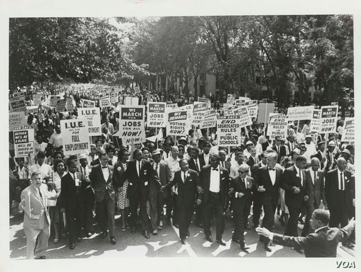 March on Washington for Jobs and Freedom, Martin Luther King, Jr. and Joachim Prinz pictured,1963. Photo: Creative Commons