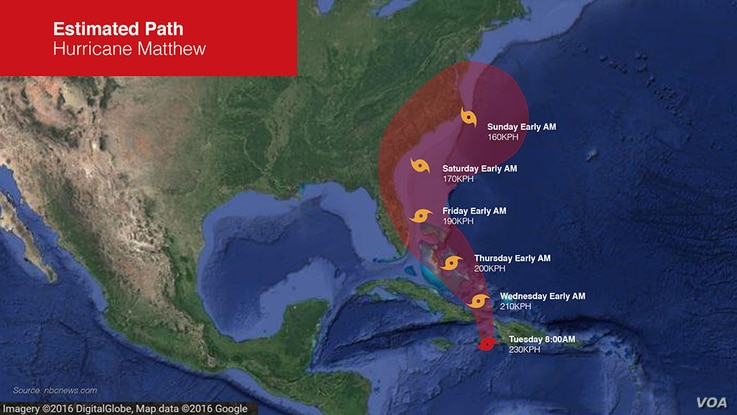 Probable path of Hurricane Matthew