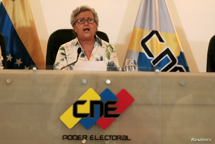 Venezuela's National Electoral Council President Tibisay Lucena speaks during a news conference in Caracas, Venezuela, Aug. 2, 2017.
